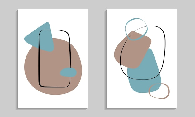 Abstract organic shapes poster set. scandinavian style print for interior design