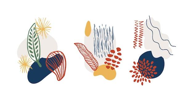 추상 유기 모양미니멀 요소 손으로 그린 라인 현대 추상 디자인 모음