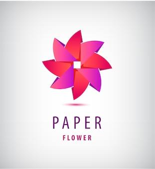 抽象的な折り紙の花のロゴ