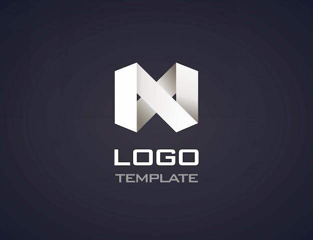 分離された抽象的な折り紙ロゴ