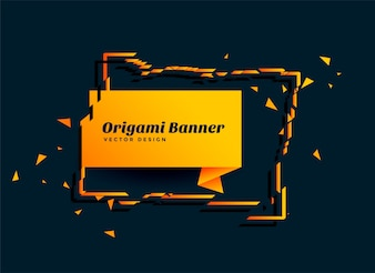 Abstract origami paper banner design