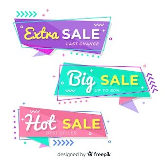 Abstract origami sale banners collection
