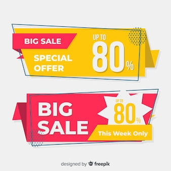 Abstract origami sale banners