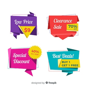 Abstract origami sales banners