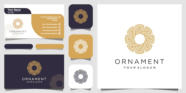 Abstract ornament circle shaped with line art  symbols. business card