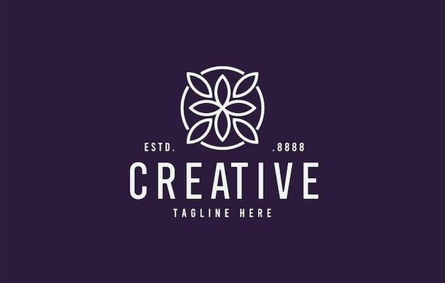 抽象的な飾り葉フラワーラインロゴデザインテンプレート