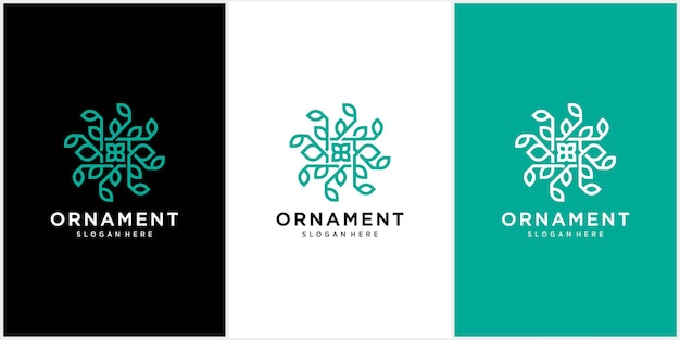 Abstract ornament logo icon vector leaf ornament
