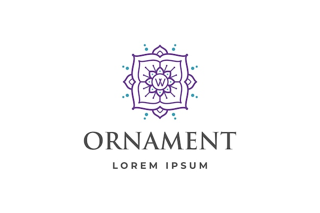 Abstract ornament logo with letter w initial