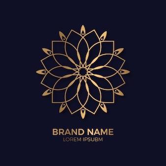 Abstract ornament luxury gold circle flower logo