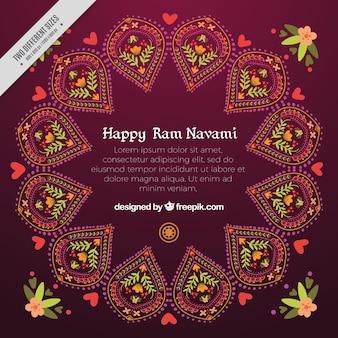 Abstract ornamental background of happy ram navami