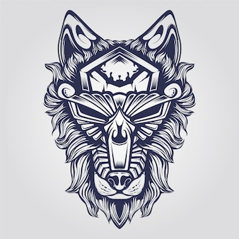 Abstract ornamental wolf