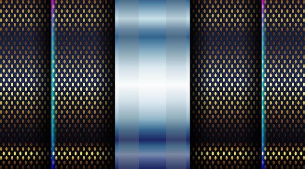 ダークブラックの形の背景の明るいポスターテクノロジーバナーとダイナミックなゴールドラインテクスチャデザインの抽象