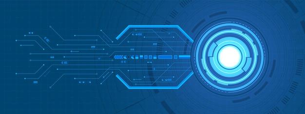 추상 겹침 원 디지털 배경, 스마트 렌즈 기술, 회로 기판, 화살표 속도 향상