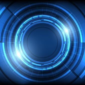 추상 겹침 원 디지털 배경, 조명 효과가 있는 스마트 렌즈 기술, 빈 공간