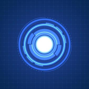 추상 겹침 원 디지털 배경, 조명 효과가 있는 스마트 렌즈 기술, 디자인 개념