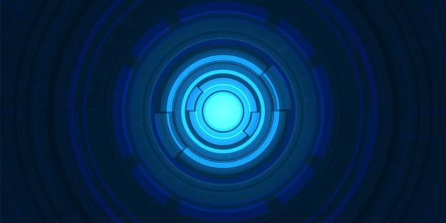 추상 겹침 원 디지털 배경, 조명 효과가 있는 스마트 렌즈 기술