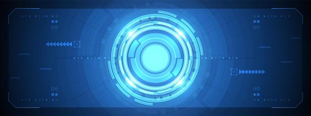 조명 효과 및 회로 기판이 있는 추상 중첩 원 디지털 인터페이스 기술스마트 렌즈