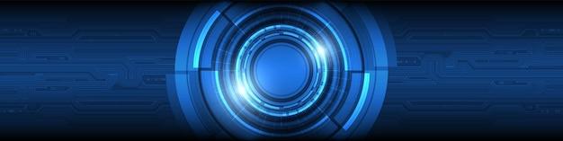 조명 효과 회로 기판 배경이 있는 추상 겹침 원 디지털 스마트 렌즈 기술