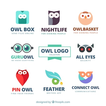 Abstract owl logo collection