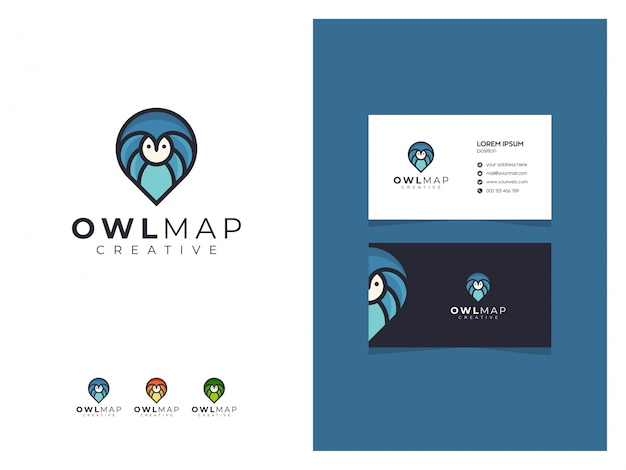 Abstract owl map blue logo sign with a business card
