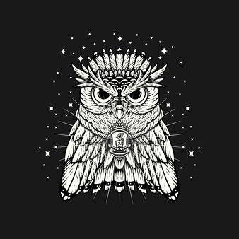 검은 배경에 추상 올빼미 밤 로고 손 그리기 벡터 일러스트 템플릿 디자인