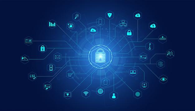 아이콘이있는 추상 자물쇠 사이버 보안 정보 보호