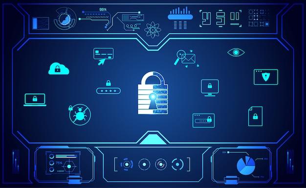 インターフェイスアイコン保護と抽象的な南京錠サイバーセキュリティ