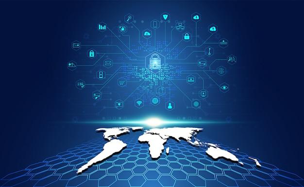 地図とアイコンの概念の保護と抽象的な南京錠サイバーセキュリティ