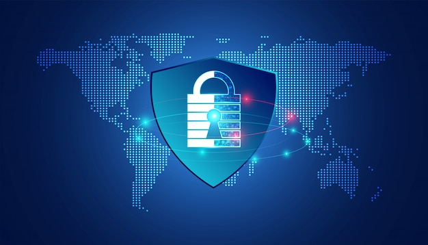 マップドットとシールド保護を備えた抽象的な南京錠サイバーセキュリティ