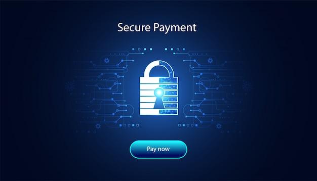 安全な支払いによる抽象的な南京錠サイバーセキュリティ