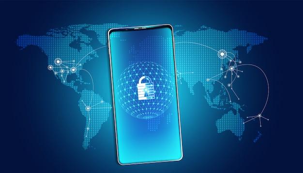 Абстрактный замок кибербезопасности со смартфоном и картой мира