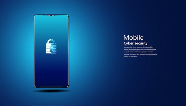 スマートフォンで抽象的な南京錠サイバーセキュリティ情報の保護