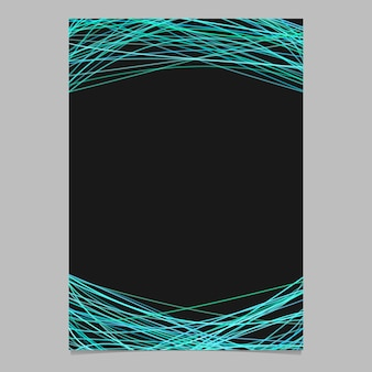 Abstract page template with random lines - blank vector poster illustration on black background