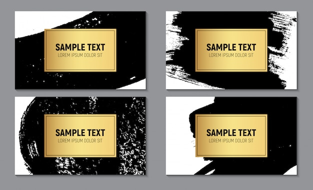 Abstract paint glittering textured business card template