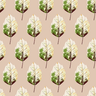Abstract paint leaf seamless pattern