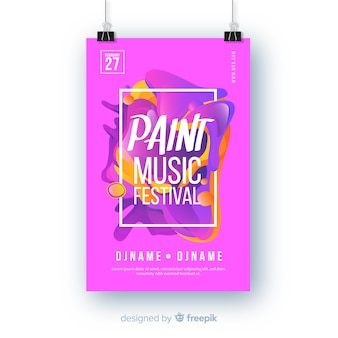 Abstract paint music festival poster template