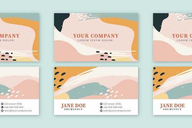 Abstract painted business card template design