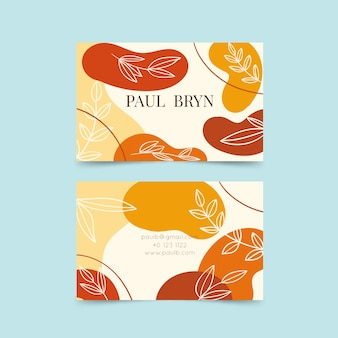 Abstract painted business card template with leaves