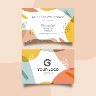 Abstract painted business card with different shapes