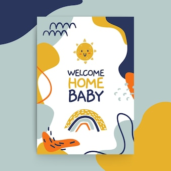 Abstract painted child-like baby cards template