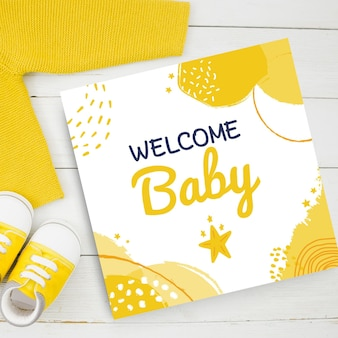 Abstract painted child-like baby cards in yellow tone
