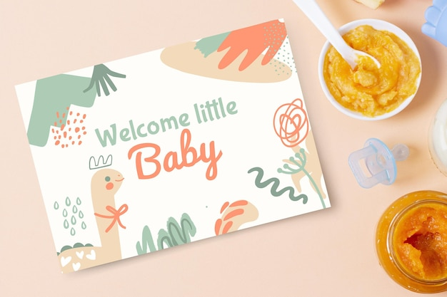 Abstract painted child-like baby cards