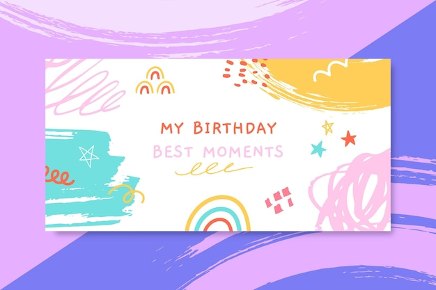 Abstract painted child-like birthday blog header