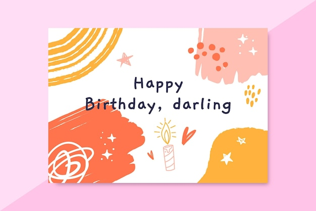 Abstract painted child-like birthday card