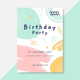 Abstract painted child-like birthday poster