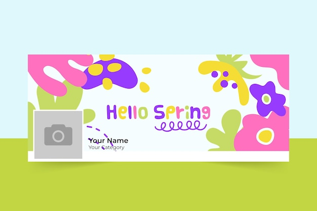 Abstract painted child-like spring facebook cover