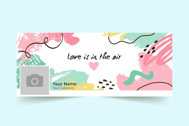 Abstract painted colorful valentine's day facebook cover