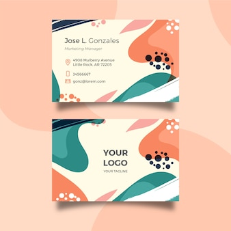 Abstract painted company card with different shapes