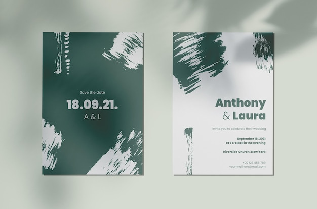 Abstract painted monochromatic wedding invitation