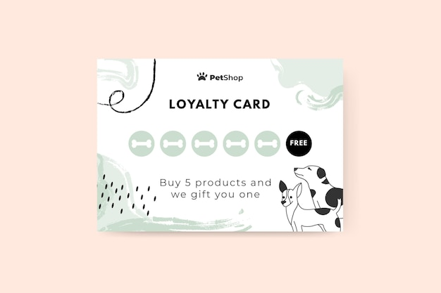 추상 그려진 된 단색 애완 동물 카드